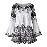 MEIbax Damen Herbst Plus Größe Gedruckt Flare Sleeve Tops Blusen Schlüsselloch T-Shirts Mode Frauen Blumendruck Vintage Tunika Kleid Oberteile