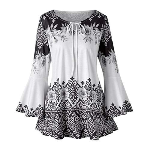 MEIbax Damen Herbst Plus Größe Gedruckt Flare Sleeve Tops Blusen Schlüsselloch T-Shirts Mode...