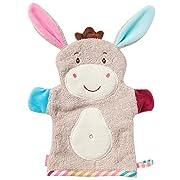 Fehn 081442 Waschhandschuh Esel - Waschlappen mit Tiermotiv für fröhlichen Badespaß, für Babys und Kinder ab 0+ Monaten