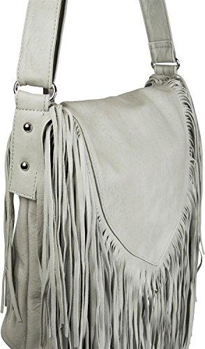 styleBREAKER borsa a tracolla con frange in stile etnico, borsa da spalla, borsetta, borsa, donne 02012188, colore:Crema-Bianco Grigio chiaro