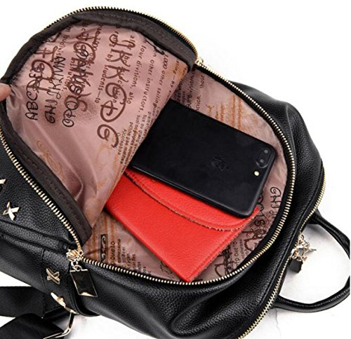 Umhängetasche Damen Kleine Tasche Neu Koreanisch PU-Leder Mini Mode Persönlichkeit Kleiner Rucksack NylonBlack