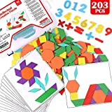 Lewo 203 PCS Pattern Blocks Set Activity Cards Wooden Geometric Shape Puzzle Classic Early Educational Toys Tangram for Kids with 15 Double-Sided Pattern Cards