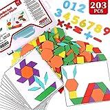 Lewo 203 PCS Puzzle di Legno Pattern Blocchi di Legno Puzzle di Forma Geometrica Giocattoli Educativi Precoci Classici Tangram per Bambini con 15 Carte Modello a Doppia Faccia