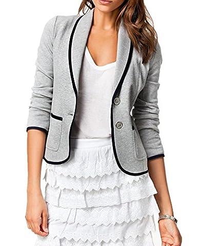Women's Casual Lapel Slim-fit Cardigan Long Sleeve ICOCOPRO Double Button Work Office Stylish Blazer-Gray-2L