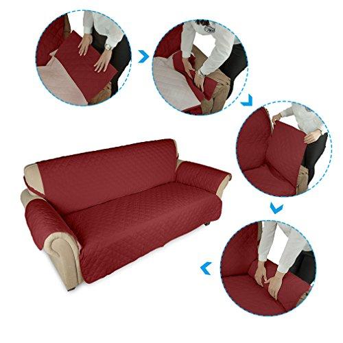 KINLO® Sofahusse 3 Sitzer 167x165 Weinrot sofa überwurf 100% Baumwolle Füllung sehr weich Sofa Abdeckung Top Qualität Sesselauflage aus Polster Material Umweltschutz schonbezug couch Elastisch 2 Jahren Grantie - 6