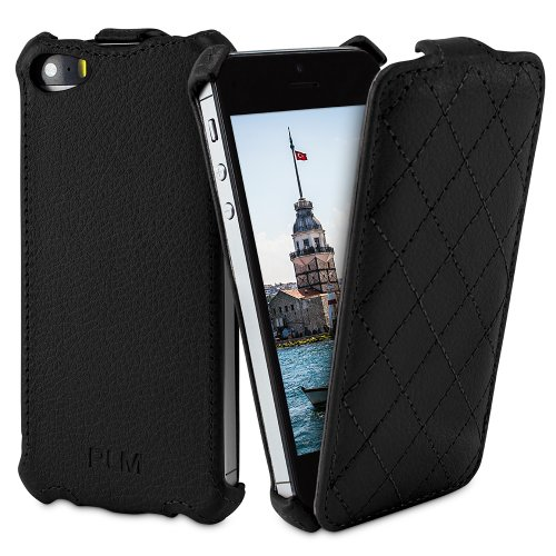 ' PLM Istanbul–Etui à rabat pour iPhone 5/5S en cuir synthétique noir
