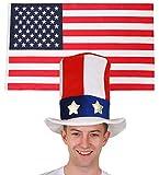 ILOVEFANCYDRESS Fahnen FLAGGEN Dekoration Fussball Sport LÄNDER ABMESSUNGEN VON 152cmX91cm=MIT+OHNE ZUBEHÖR=USA Flagge+Onkel SAM Hut