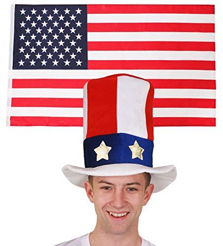 ILOVEFANCYDRESS Amerika-USA Dekoration KOSTÜM VERKLEIDUNG =MIT+OHNE ZUBEHÖR=Fussball Sport LÄNDER ABMESSUNGEN VON 152cmX91cm=Flagge + Onkel SAM Hut