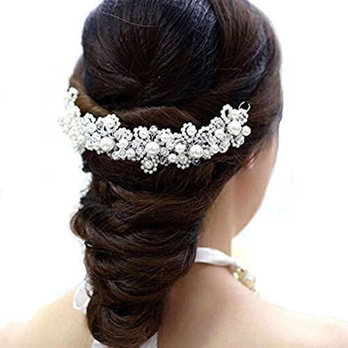 - 51 2B4foAvcUL - Fulltime(TM) Bridal Hair Jewelry Hair White Pearl Crystal Headdress By Hand Wedding Dress Accessories