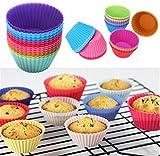 HENGSONG Mischfarbe 12 Stück Silikon Muffinformen Backform Kuchen Cupcake Brownie Muffinförmchen Runde Formen