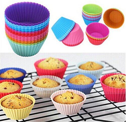 HENGSONG Mischfarbe 12 Stück Silikon Muffinformen Backform Kuchen Cupcake Brownie Muffinförmchen Runde Formen (Brownie Runde)