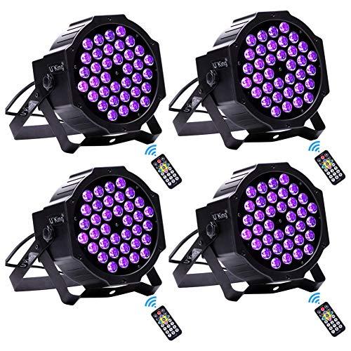 UV LED Beleuchtung, UKing Schwarzlicht 36 x 3W UV LED Strahler mit Fernbedienung und DMX Steuerung Ton aktiviert Schwarzlichtlampe für DJ Disco...