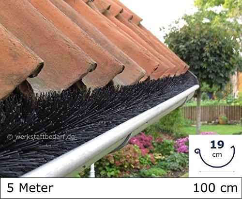Dachrinnenbürste 5 Meter Ø 19cm, inkl. 3 Sicherungsklammern gegen Sturm und Wind