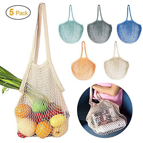 JUCERS 5er-Pack Cotton Einkaufsnetz Netzbeutel mit Langer Griff, Tragbar Wiederverwendbare Obst- und gemüsebeutel Einkaufstasche Netze Tasche Kartoffelsack, Einkaufsnetz Veranstalter 5 Farben