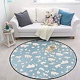 Golden_flower Cartoon Runde Teppich Wohnzimmer Sofa Seite Fuß Matte Plüsch Schlafzimmer Nacht Foyer Teppich, Eisbär,