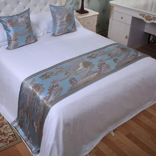 QLZQCQ Bettläufer Bett Renner Bettschal High-End-Hotel Hotelbett Flagge Betttuch Hause Schlafzimmer Bett Ende Kissen Bettdecke einzigen Luxusbett,Blaue Unterseite nahe Wasserturm,2m Bett (50 * 260cm)