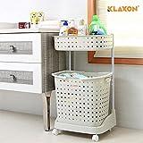 #4: Klaxon Laundry Basket – Plastic Laundry Basket - Cloth Storage Basket/Movable Laundry Basket/Washing Clothes Basket – White