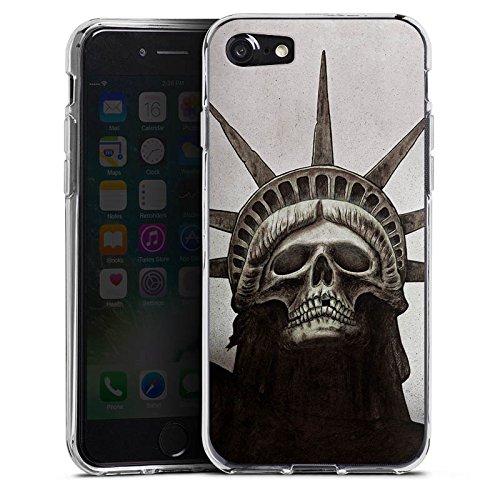 Apple iPhone X Silikon Hülle Case Schutzhülle Freiheitsstatue Skull Totenkopf Silikon Case transparent