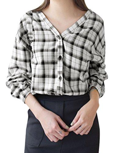 sourcingmap Femme Col V épaule dénudée Plaids En vrac Chemise Blanc