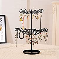 Jewelry Display Stand,Hanging Jewelry Organizer Display Holder with Ring Tray to Organize Necklaces Bracelets Earrings Rings and Watches Rotary Storage Display Stand Hook