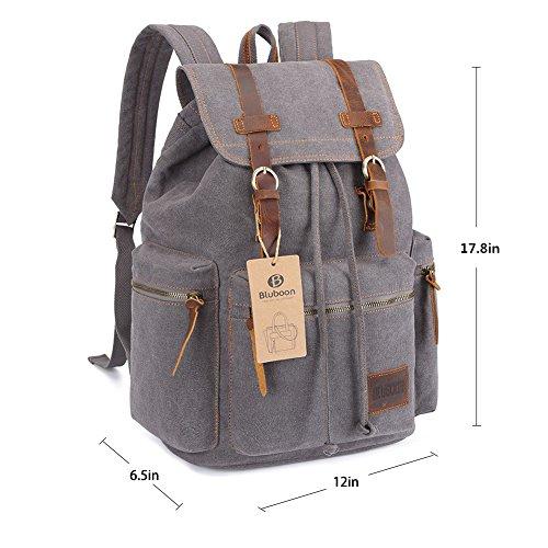 Imagen de bluboon vintage  de lona para hombre/mujer casual backpack canvas rucksack gris  alternativa