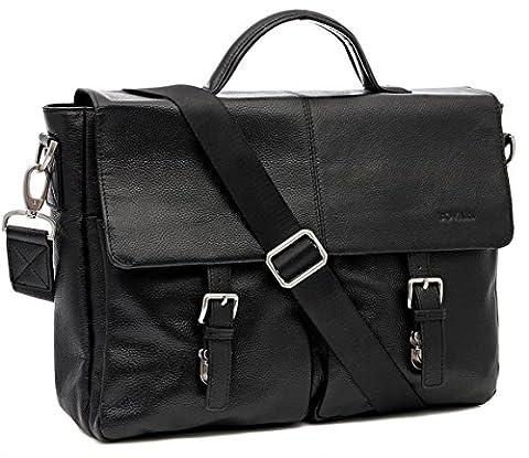 Bovari echt Leder Messenger Bag Aktentasche Laptop-Tasche 39x30x10 cm -Model Manhattan 2016 Edition- schwarz
