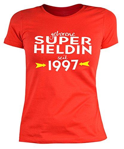20 Geburtstag Damen Tshirt - Frauen 20 Jahre T-Shirt : geborene Super Heldin seit 1997 -- Geburtstagsshirt 20 Damenshirt Rot