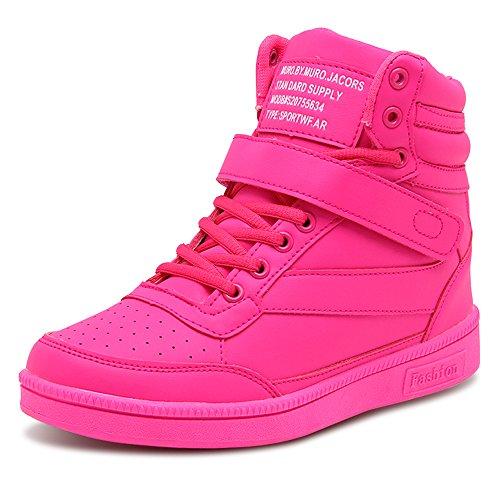 BAINASIQI Damen Sneakers High Top Sportschuhe Wedges Keilabsatz Schuhe Laufschuhe Atmungsaktive Freizeitschuhe Turnschuhe (EU 39, Rose Rot-01)
