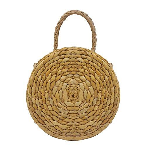 Bolsa de playa, acampada, manual, de ratán, tejido a mano, retro tejido de pajita trenzada, bolsa de almacenamiento para el hogar organizador