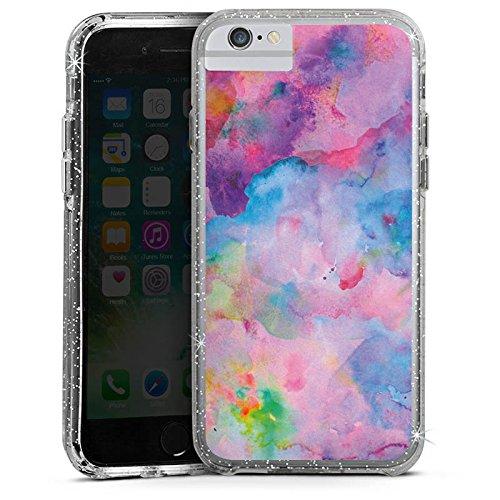 Apple iPhone 6s Bumper Hülle Bumper Case Glitzer Hülle Malerei Tie Dye Bartik Tie Dye Bumper Case Glitzer silber