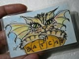 Katze als Fledermaus auf Kürbis Mini Bild handgemalt Original Miniatur laminiert Lesezeichen als Geschenk