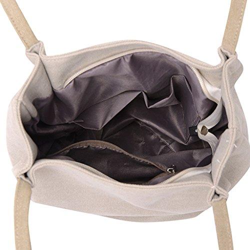 Handtasche lang Retro Design Schultertasche Leinen Große Super quadratisch Modern Grau Damen qBRf1F