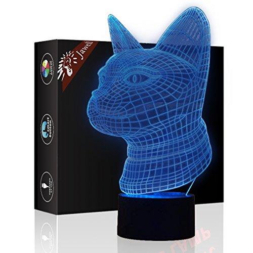 Gatto Regalo di compleanno 3D Illusion Night Light Accanto Lampada da tavolo, Gawell 7 Cambia colore Touch Switch Decorazione Lampade Baby Gift con acrilico Flat & Base ABS e cavo USB Theme Toy