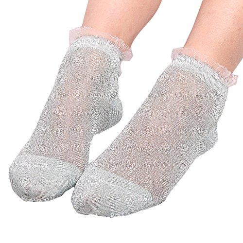 COZOCO Frauen Sommer Damen schiere seidige Socken Glitter Transparente kurze Strümpfe Knöchel Socken atmungsaktive dünne Socken(grün) -