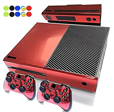Skin for XBOX ONE - Morbuy Vinyl peau Protective Autocollant Decal Sticker pour Microsoft XBOX ONE console + 2 Autocollant Manette et 1 autocollant Kinect Set + 10pc SiliconeThumb Grips (Rouge Brillant)