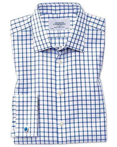 Bügelfreies Classic Fit Hemd aus Twill in königsblau mit Gitterkaros königsblau (Knopfmanschetten Cuff)