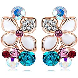 Jewel Queen 18K Rose Gold Plated White Enamel Flower Crystal Stud Earring For Women & Girls