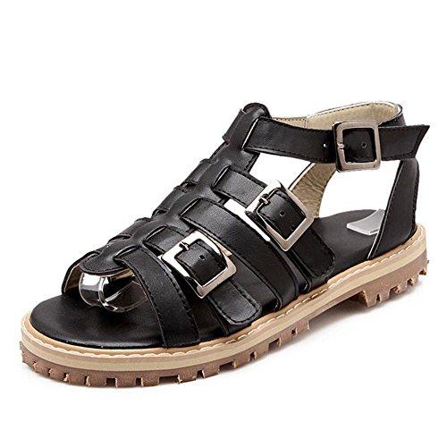 TAOFFEN Damen Mode Slingbacks Schnalle Sandalen Modischen Gladiator Schuhe Schwarz