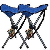 CAMP ACTIVE Campinghocker im Doppelpack Dreibein-Klapphocker Faltbar klappbar in der Farbe Blau Leicht & praktisch