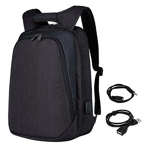 Mochila Hombre para Portátil, Mochila Antirrobo Impermeable,Mochilas para portatil 17.3 Pulgadas con Cargador USB Mochila Viajes para Ocio/Negocio-Negro