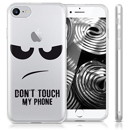 kwmobile Étui en TPU silicone élégant pour Apple iPhone 7 / 8 en or rose métallique Don't touch my phone IMD noir transparent