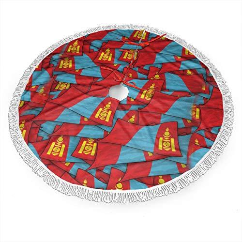 Huabuqi Mongolei Flagge Welle Collage Weihnachtsbaum Rock Ornament 48 Zoll Durchmesser Weihnachtsdekoration Neujahr Party Supply 30 Zoll -