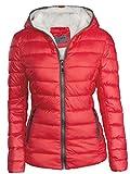 S'West Damen Winterjacke GEFÜTTERT STEPP DAUNEN Optik Kapuze Skijacke WARM, Farbe:Rot, Größe:S