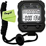 Ckeyin ® Digital Handheld Sports Stopwatch Stop Watch Time Clock Alarm Counter Timer with Lanyard -- Extra Large Display