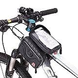 AKM Wasserdicht Fahrradtasche Frarradschnalletasche mit zwei Fäche geeignet für Handy mit Größe unten 6