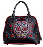 Banned Apparel Sugar Skull Candy Muerto Faux Leather Shoulder Bag Handbag Black