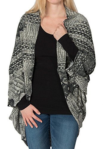 styleBREAKER Cardigan Weste/Schal im Animal Print Look, Krokodil Schlangen Design, Multifunktion, Damen 08010007, Farbe:Grau-Schwarz Animal Print Fleece-jacken