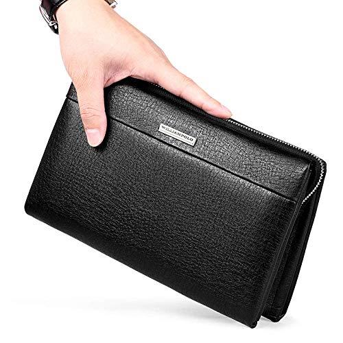 Yter Mens-Kartenmappenhalter Mens Wallet with Coin Pocket - Große Kapazität Leder Design Kartenhalter Reißverschluss Geldbörse Brieftasche für Männer (Farbe : Black)