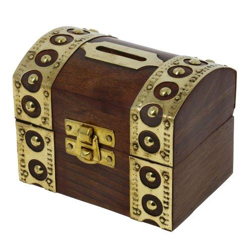 ShalinIndia De inspiración antigua, Caja de seguridad Caja Piggy Bank Juguetes de madera y caza