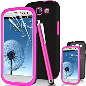 SUPERGETS® High Quality Samsung Galaxy S3 SIII I9300 Dual Layer Protection Hybrid Silicone Combo Case Cover Includes Screen Protector, High Sensitive Touch screen Stylus and Polishing Cloth ( BABY PINK )